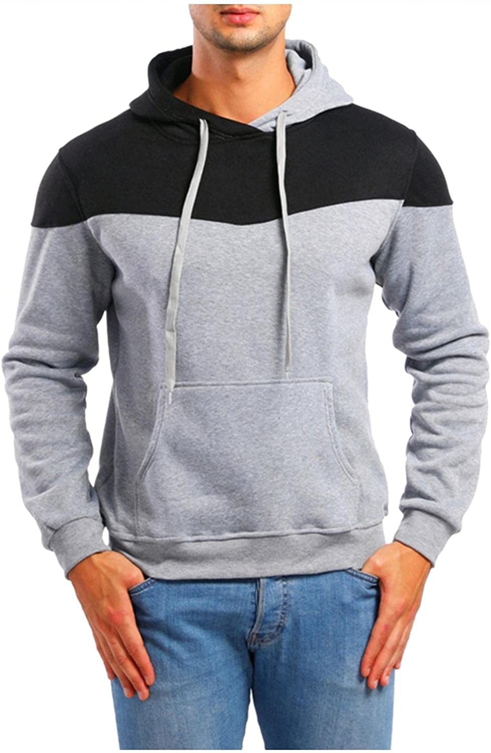 Hoodies for Men Mens Fashion Tops Casual Pullover Sport Athletic Hoodie Plain Long Sleeve Sweatshirts for Men