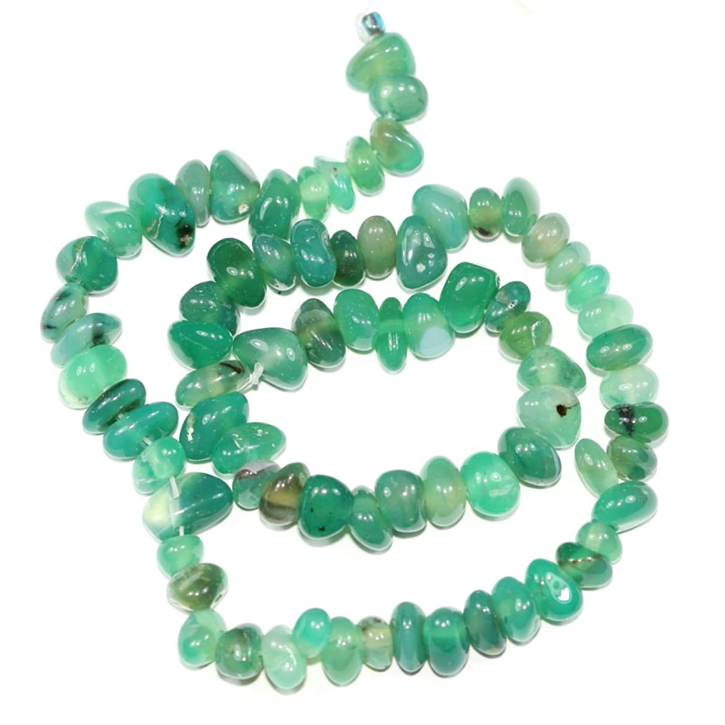 Top Quality Natural Green Agate Gemstones Smooth Pebble Beads Center Drilled Free-form Loose Beads ~10x8mm beads (~16