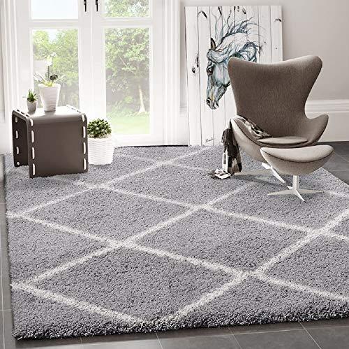 VIMODA Hochflor Shaggy Teppich Rauten Design Grau Creme Modern, Maße:140x200 cm