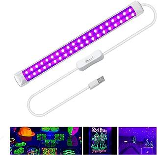 UV Led Black Light, 10w Portable UV Tube for Blacklight Party,Ultraviolet Lamp for Bedrooms, UV Art, UV Curing,Halloween, Christmas,Fluorescent Poster, Neon Glow,Aquarium(UV, 1 Pack)