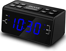 Alarm Clock, Alarm Clocks for Bedrooms with AM/FM Radio,Dimmer,Snooze,Battery Backup