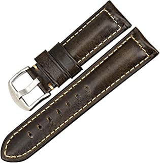 Watch Band Vintage Oil Wax Leather Strap 20Mm 22Mm 24Mm 26Mm with Stainless Steel Buckle Watch Bracelet