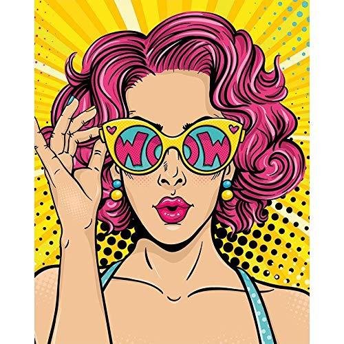 BJWQTY Pintura Digital niña Gafas de Sol Personaje de Dibujos Animados artesanía Kit Pintado a Mano Paisaje Moderno decoración del hogar