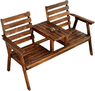 Garden bench 2-seat, Garden Furniture with Small Table and Armrest Back, Anti-Corrosion and Insect-Proof