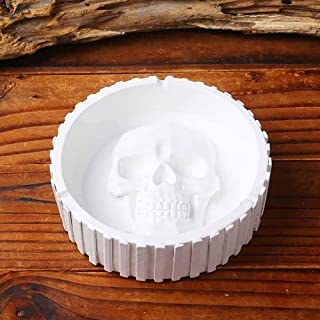 Skull Ashtray, Round Skull Ashtray Retro Resin Home Desktop Ash Tray Cigarette Holder Europe Style Skull Ashtray Smoking A...