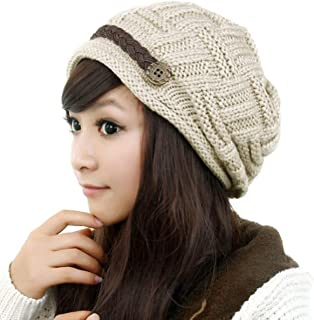 Samtree Womens Beanie Hats,Stretch Crochet Knit Winter Warm Woolen Ski Cap