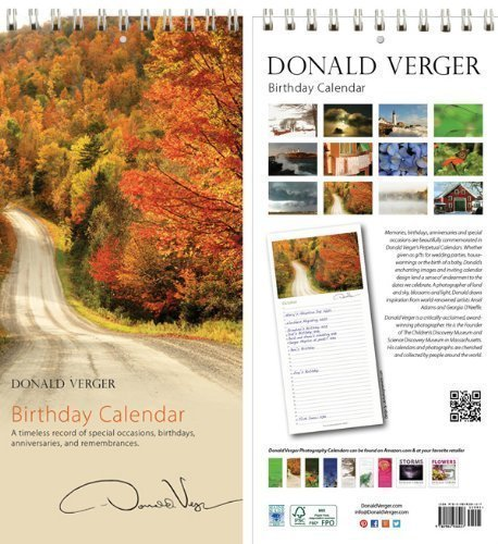 Donald Verger Photography Birthday and Anniversary Perpetual Calendar. Autumn in Vermont. Wall or Desk. 11x5.