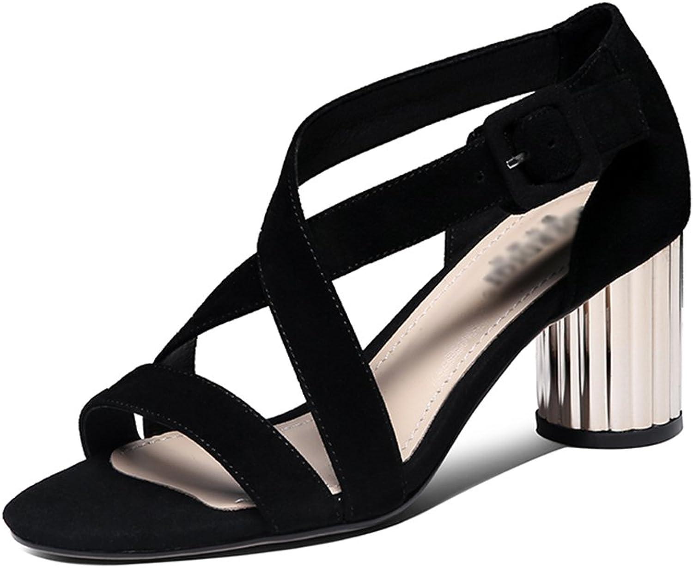 Sandalen GYHDDP Damen Damen Low Mid Heel Schuhe \ \ Open-Toe Sommermode Starke Ferse (Größe   36)  extrem niedrige Preise