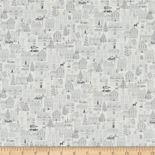 Andover/Makower UK Scandi 2019 Houses Silver Quilt Fabric