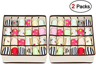 Joyoldelf Sock Drawer Organizer Divider 2 Packs Underwear Organizer, 24 Cell Collapsible Closet Cabinet Organizer Underwear Storage Boxes for Storing Socks, Bra, Handkerchiefs, Ties, Belts