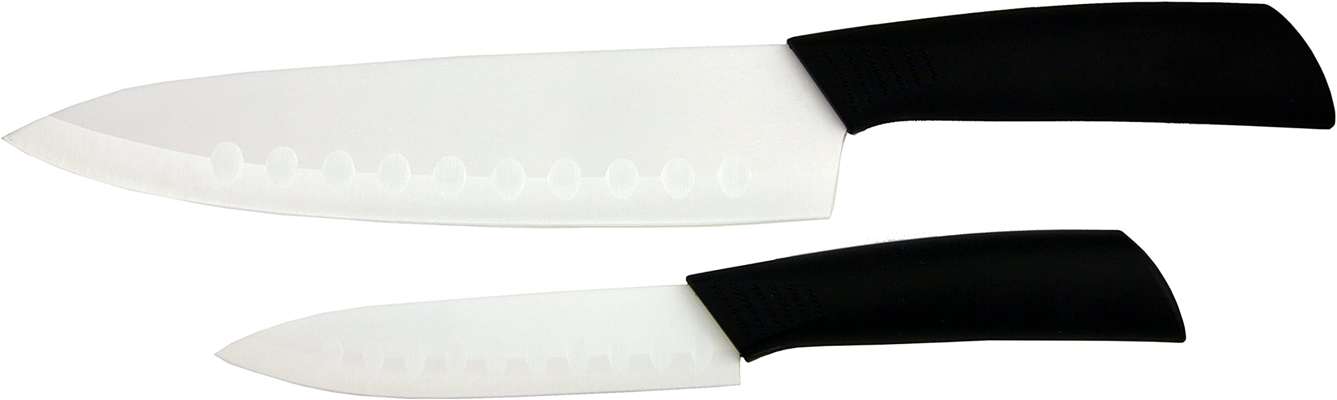 Glip 2 Piece Ceramic Knife Set Includes 5 Inch 8 Inch White Blade With Black Handle