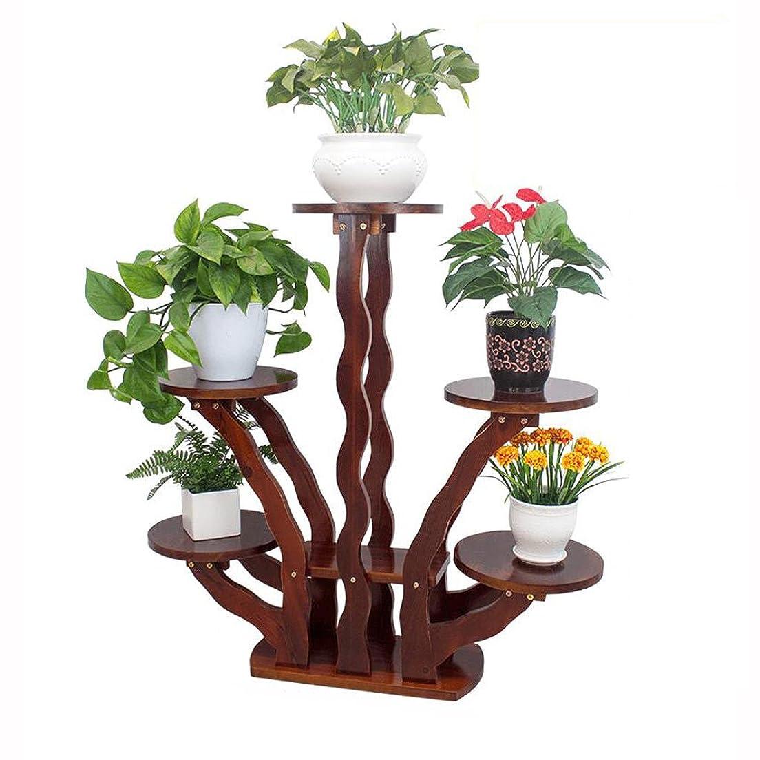 共感する残基備品WGZ- 木製のフラワースタンド植物スタンド屋内のバルコニーフラワースタンド多層フロアシェルフ3次元フラワースタンド シンプル (Style : A)