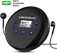 Portable CD Player, Monodeal 1400 mAh Rechargeable Personal Compact Disc Player with Headphone Jack, Anti-Skip/Anti-Shock Small Music CD Walkman with Large LCD Display for Cars Adults Kids Students