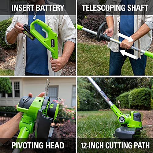 Greenworks 24V 12-Inch String Trimmer / Edger, 2Ah Battery and Charger Included 21342