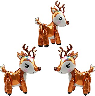 Large 3D Deer Airwalker Walking Animal Balloons For Kids Boys Girls Party Supplies Baby Showers Birthday Decorations, 3 Pack Mylar Foil Standing Balloon