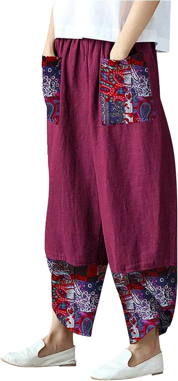 Meisiqw Cotton Linen Wide Leg Pants for Women Summer Elastic Waist Pants for Women Casual with Pockets
