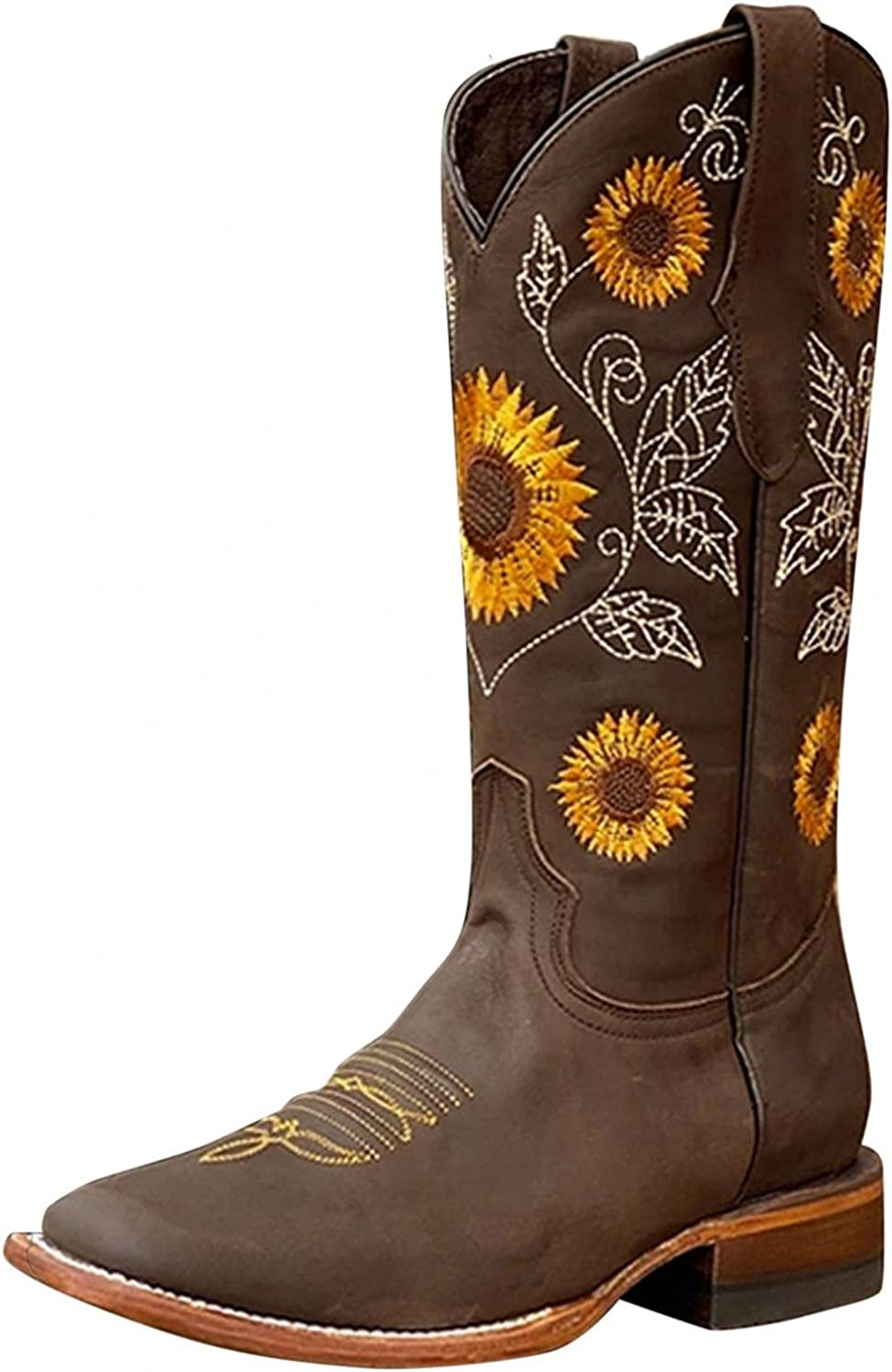 Women's Western Cowboy Boots Cowgirl Boots Women Sunflowers Retro Print Embroidery Mid Calf Thick Heel Pull On Short Boots