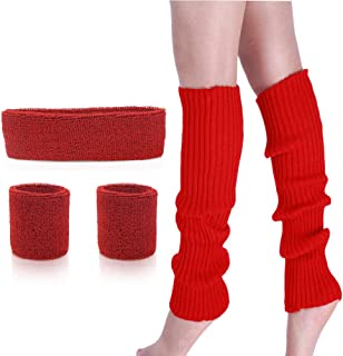 Leg Warmers Set - Women 80s Pink knitted leg warmers Running Headband Wristbands Warmers 80s Theme Party Costumes Accessories