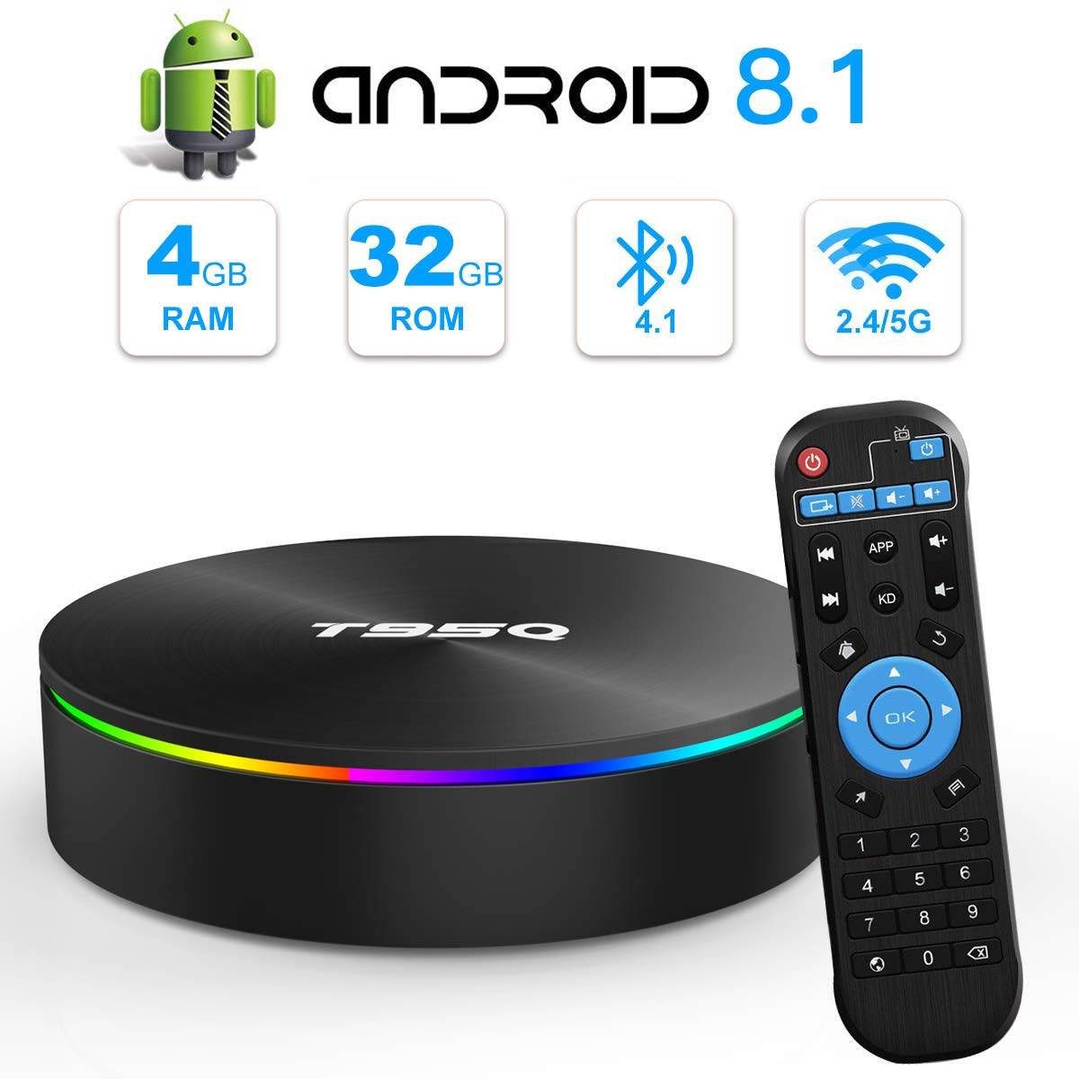 Android 8.1 TV Box, T95Q TV Box 4GB RAM 32GB ROM Amlogic S905X2 Quad-Core Cortex-A53 Bluetooth 4.1 Resolución 4K H.265 2.4GHz y 5GHz Dual Band WiFi HDMI 2.1 Smart Box: Amazon.es: Electrónica