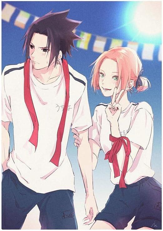 QTRT NARUTO Serie Sasuke y Sakura blanco Pareja camisa de ...