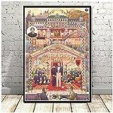 Póster de decoración del hogar, lienzo, arte de pared, impresión caliente, The Grand Budapest Hotel, película, clásico, cómic, regalo, pintura, imagen de dormitorio, 24x32 pulgadas x1 sin marco