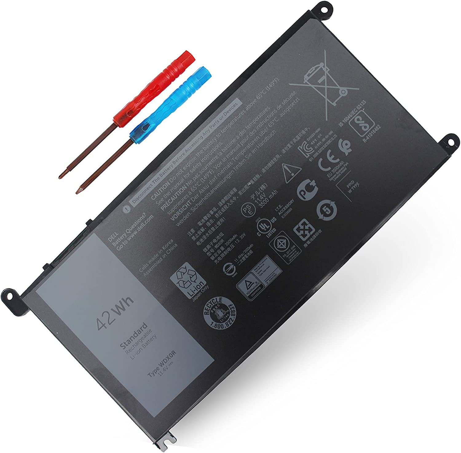 WDX0R Laptop Battery for DELL Inspiron 7378 Max 72% OFF 5378 5368 53 13 Indefinitely