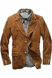 GAGA Mens Winter Lapel Lamb Wool Lined Suede Jacket Coat Outerwear