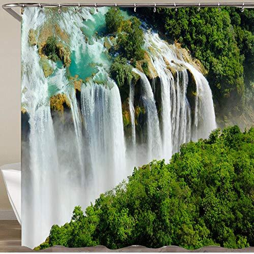 KGSPK Cortinas de Ducha,Vista aérea de Las cascadas de la Huasteca Potosina en México,Impermeable Cortinas Baño y Lavables Cortinas Bañera 180x180CM