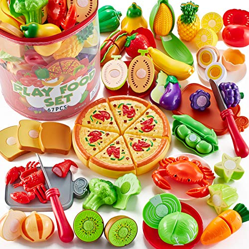 Shimirth 67Pc Pretend Play Food Sets for Kids Kitchen, Pizza Toy Food & Cutting Fake Food - Fruits & Vegetables, Play Kitchen Toys Accessories, Pretend Food Toys for Toddlers Boys Girls Birthday Gift