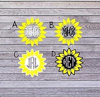 Sunflower Monogram Car Decal   Sunflower Monogram Sticker