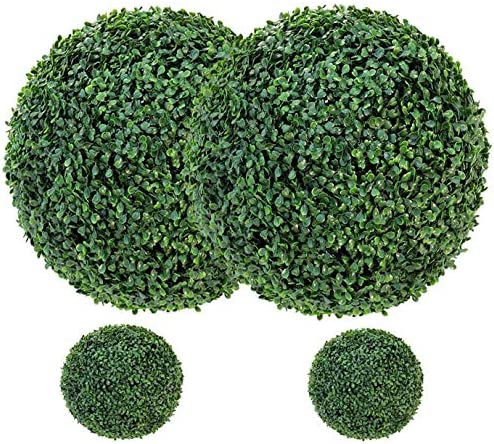Boxwood Topiary Ball 4 Pcs Two 20 Ball and Two 9 Ball Realistic Round Artificial Topiary Plant product image