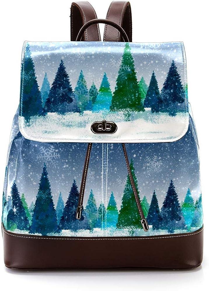 Christmas Tree Snow PU Leather Backpack Fashion Shoulder Bag Rucksack Travel Bag for Women Girls