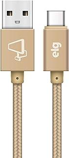 CABO USB TIPO-C EM NYLON TRANÇADO REFORÇADO - RECARGA E SINCRONIZAÇÃO - DOURADO - TC20BG - ELG, Elg, TC20BG, Dourado