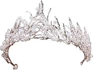 Miranda's Bridal Women's Bridal Tiaras Pageant Queen Crown Pearl Headbands for Shooting