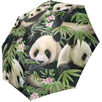 Cute Little Panda Bears In Various Poses Double Layer Windproof UV Protection Reverse Umbrella With C-Shaped Handle Upside-Down Inverted Umbrella For Car Rain Outdoor