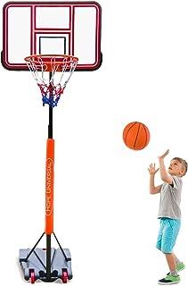 GreenGee PVC Portable Basketball Hoop Mini Basketball Hoop System for Kids Height Adjustable(5.08-8.6 ft) Basketball Hoop Indoor Outdoor Basketball Court (US Stock