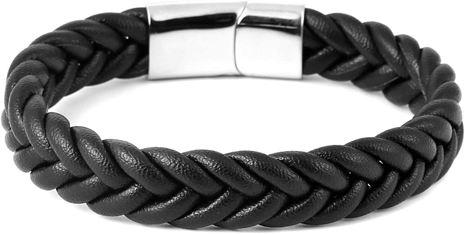 Men Women Braided Leather Bracelets Bangle Bracelets With Stainless Steel Magnetic Clasp 8.5 Inch