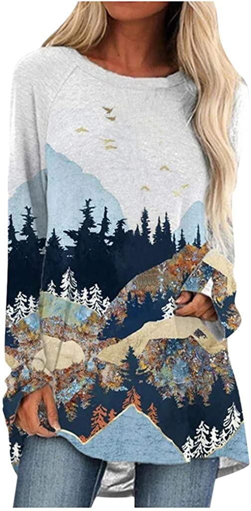 Wugeshangmao Sweatshirt for Women Plus Size Mountain Printed Long Sleeve Pullover Splice Comfy Hooded Shirt Tops