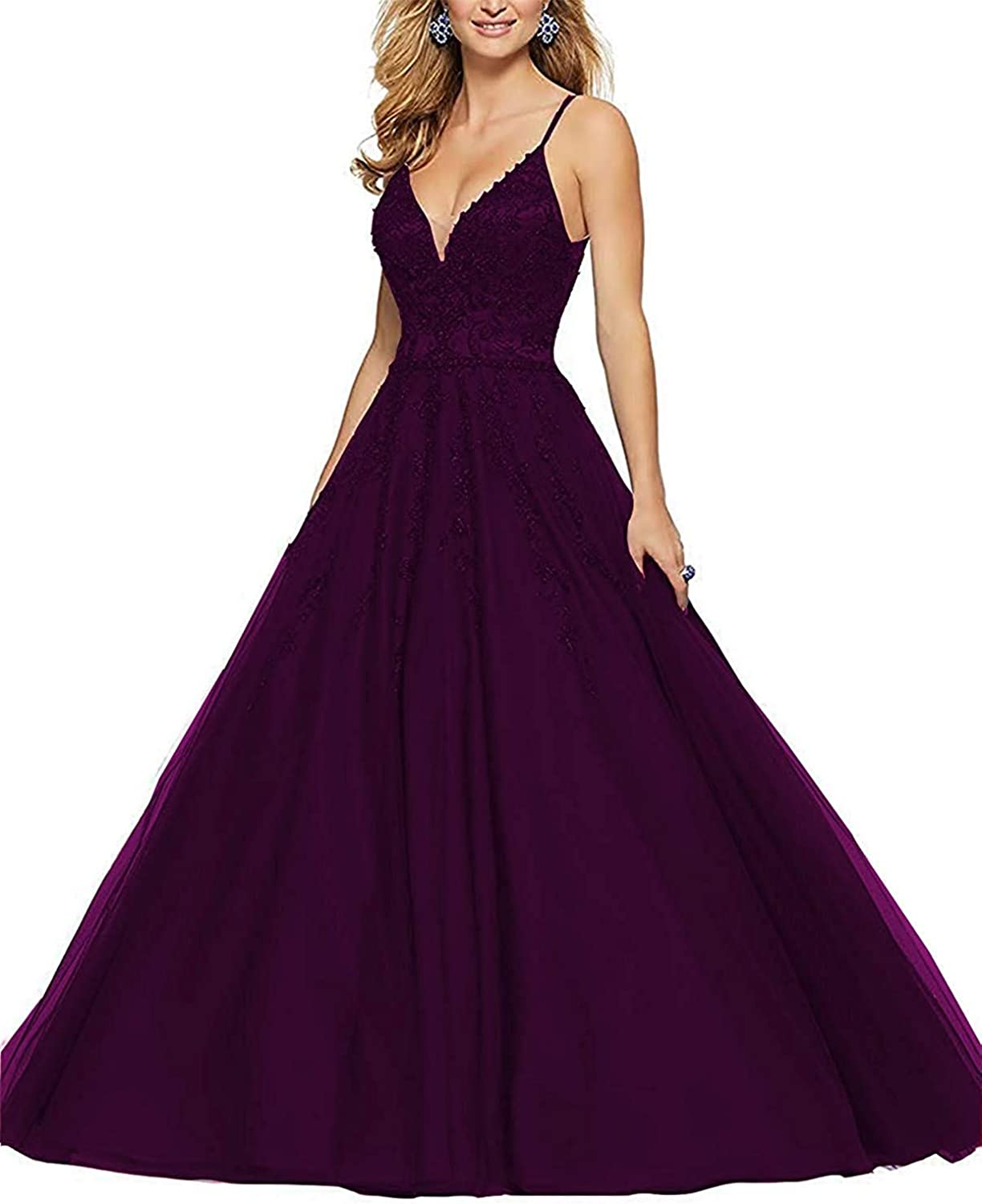 Sulidi Womens Long Lace Beaded V Neck Prom Dresses Spaghetti Straps Ball Gown Evening Formal Party Gowns C122