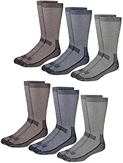 Kirkland Signature men's Outdoor Trail Sock, 6-pair (Grey/Navy/Brown), Shoe Size 7-9.5