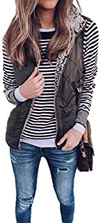 neveraway Womens Thick Quilted Jacket Coat Casual Fleece Turn Down Collar Padding Vest