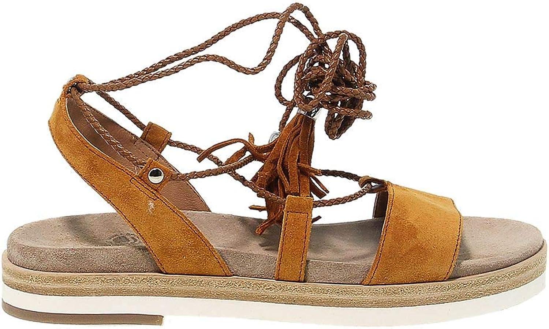 JANET SPORT Women's JSPO39831 Yellow Leather Sandals