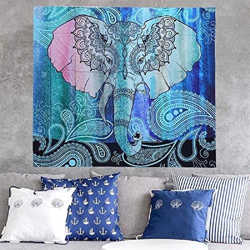 Estera de playa Mandala Colgante de pared Elefante Impreso Cuadrado Bohemia Estera de playa Manta 180x180cm