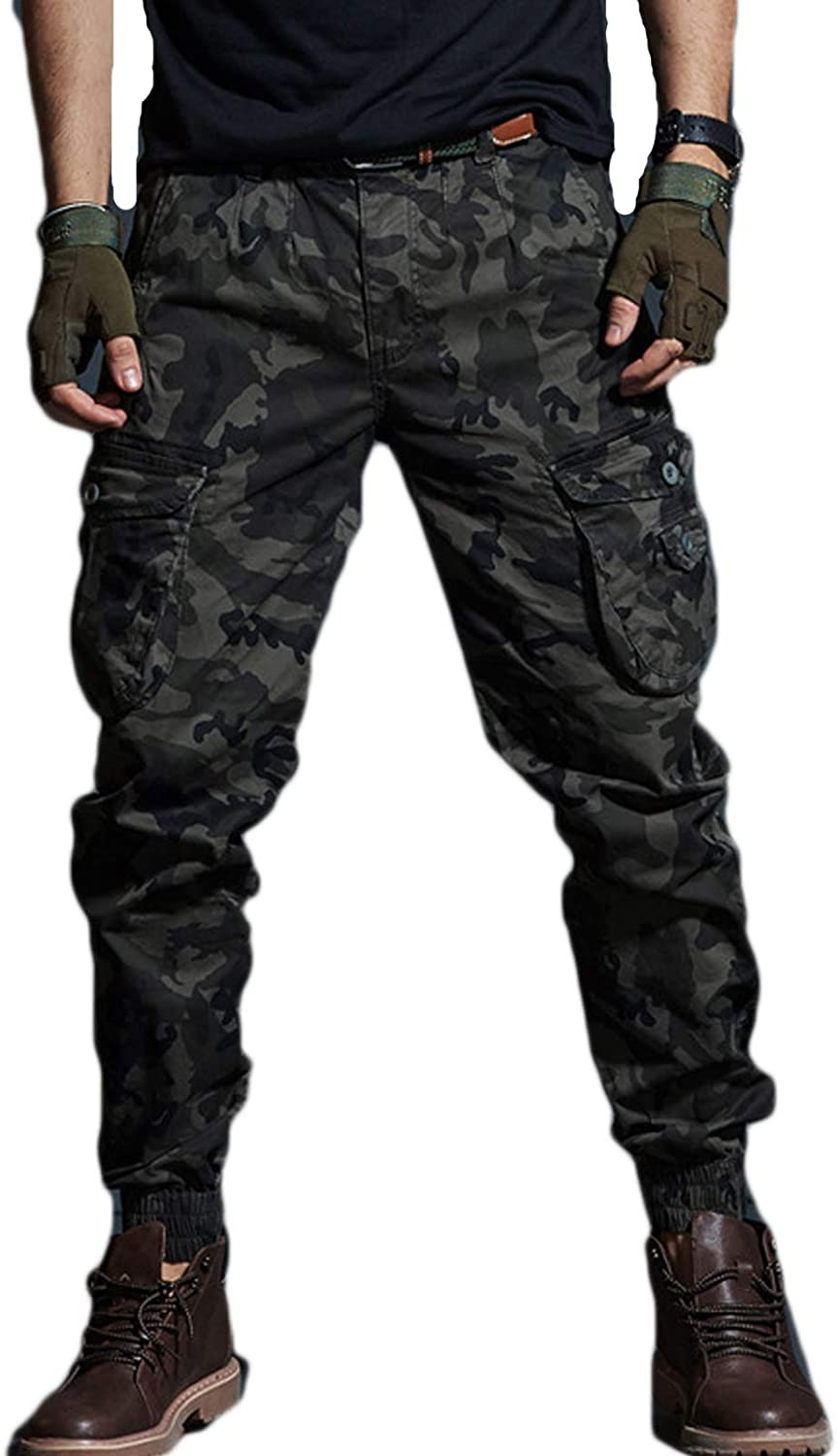 HARGLESMAN Mens Tactical Pants Fashion Joggers Multi Pockets Casual Stretch Cotton Cargo Pants Army Trousers