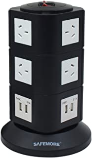 SAFEMORE Origin 3L+ Black/White - USB Power Strip 10-Outlet Charging Station with 4 Smart USB Ports and 2-Metres Power Cor...