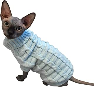 LUCKSTAR Cable Knit Turtleneck Sweater - Cats Sweater Pullover Knitted Clothes Pet Sweater for Small Dogs & Cats Kitten Kitty Chihuahua Teddy Knitwear Cold Weather Outfit