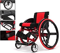Folding Light Sports and Leisure Wheelchair Portable with Ultra Light Aluminum Alloy Quick Release Rear Wheel Shock Absorber Trolley Disabled Elderly Driving