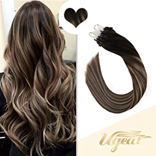 Ugeat Micro Ring Hair Extensions Human Hair 16inch Balayage Color #4/18/4 Dark Brown with Ash Blonde 50g 50Strands/Pack Micro Loop Hair Extensions Real Human Hair