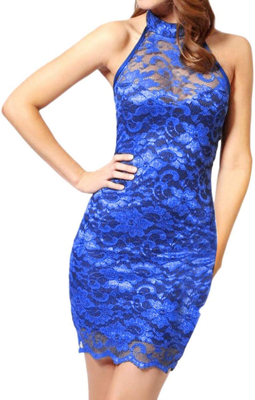 MBSDDH Dress Women Lace Slim Elegant Halter Collar Party Dress