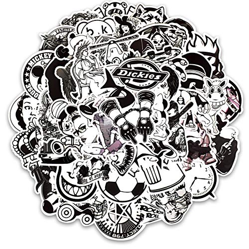 Honch Vinyl Black and White Stickers Pack 50 Pcs Decals for Laptops Ipad Car Luggage Suitcase Water Bottle Helmet